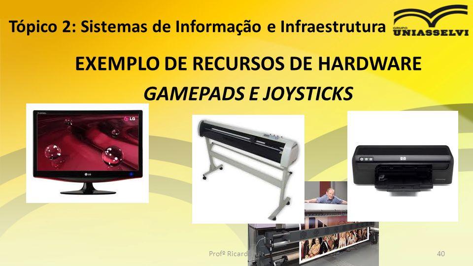 EXEMPLO DE RECURSOS DE HARDWARE GAMEPADS E JOYSTICKS Tópico 2: Sistemas de Informação e Infraestrutura Profº Ricardo luiz40