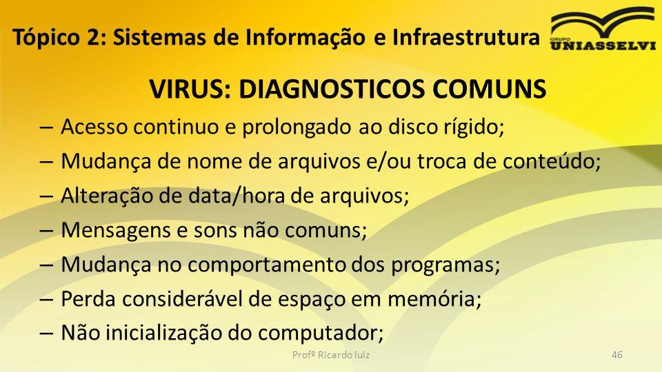 VIRUS: DIAGNOSTICOS COMUNS – Acesso continuo e prolongado ao disco rígido; – Mudança de nome de arquivos e/ou troca de conteúdo; – Alteração de data/h