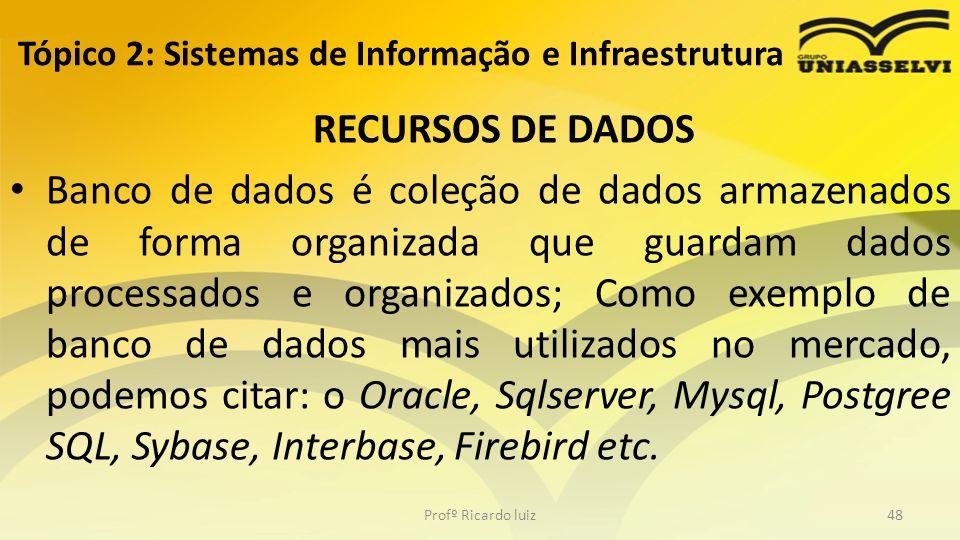 RECURSOS DE DADOS Banco de dados é coleção de dados armazenados de forma organizada que guardam dados processados e organizados; Como exemplo de banco