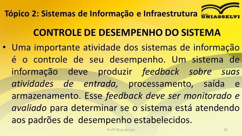 CONTROLE DE DESEMPENHO DO SISTEMA Uma importante atividade dos sistemas de informação é o controle de seu desempenho. Um sistema de informação deve pr