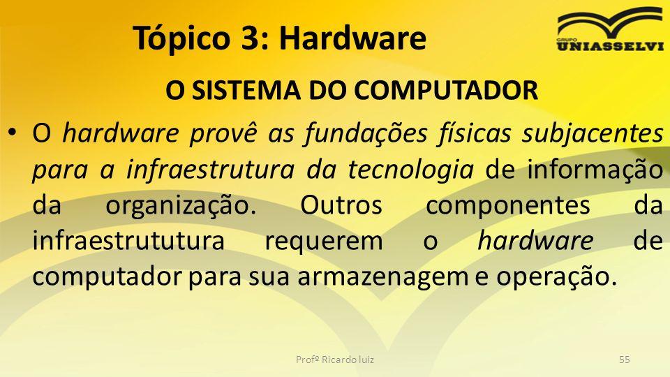 O SISTEMA DO COMPUTADOR O hardware provê as fundações físicas subjacentes para a infraestrutura da tecnologia de informação da organização. Outros com