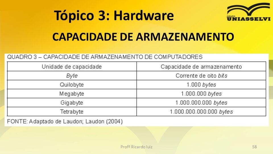 CAPACIDADE DE ARMAZENAMENTO Profº Ricardo luiz58 Tópico 3: Hardware