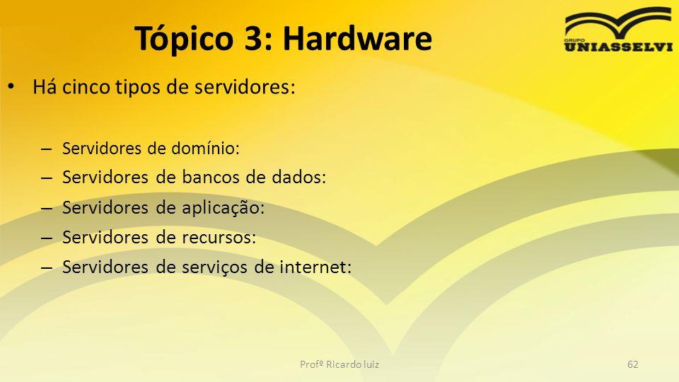 Há cinco tipos de servidores: – Servidores de domínio: – Servidores de bancos de dados: – Servidores de aplicação: – Servidores de recursos: – Servido
