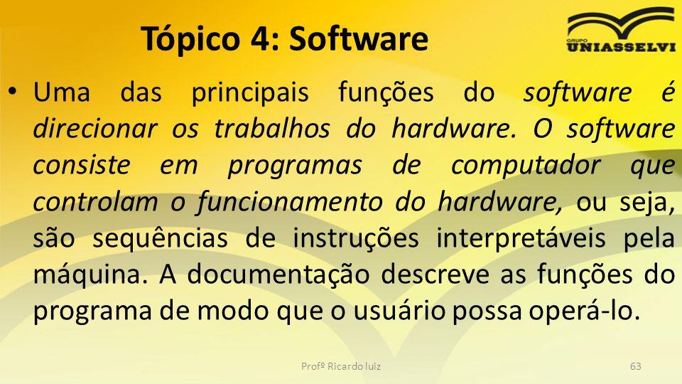 Uma das principais funções do software é direcionar os trabalhos do hardware. O software consiste em programas de computador que controlam o funcionam