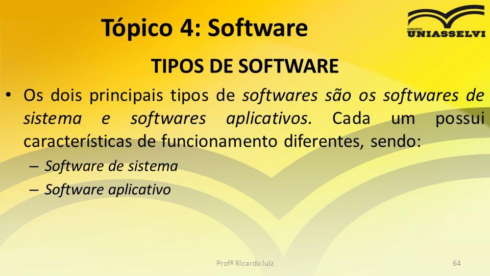 TIPOS DE SOFTWARE Os dois principais tipos de softwares são os softwares de sistema e softwares aplicativos. Cada um possui características de funcion