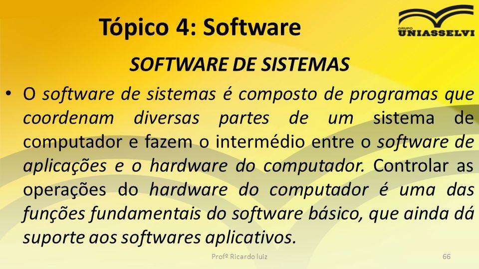 SOFTWARE DE SISTEMAS O software de sistemas é composto de programas que coordenam diversas partes de um sistema de computador e fazem o intermédio ent