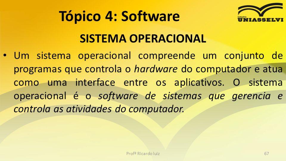 SISTEMA OPERACIONAL Um sistema operacional compreende um conjunto de programas que controla o hardware do computador e atua como uma interface entre o