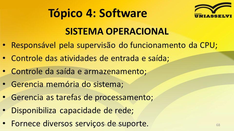 SISTEMA OPERACIONAL Responsável pela supervisão do funcionamento da CPU; Controle das atividades de entrada e saída; Controle da saída e armazenamento