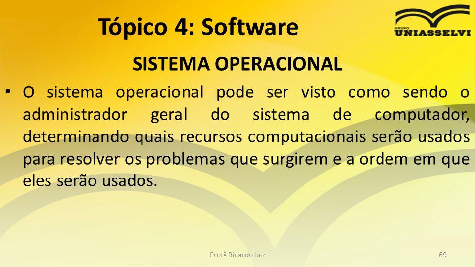 SISTEMA OPERACIONAL O sistema operacional pode ser visto como sendo o administrador geral do sistema de computador, determinando quais recursos comput