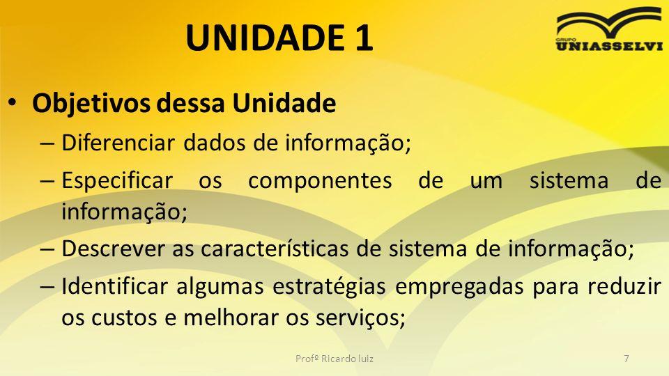 UNIDADE 1 Objetivos dessa Unidade – Diferenciar dados de informação; – Especificar os componentes de um sistema de informação; – Descrever as caracter