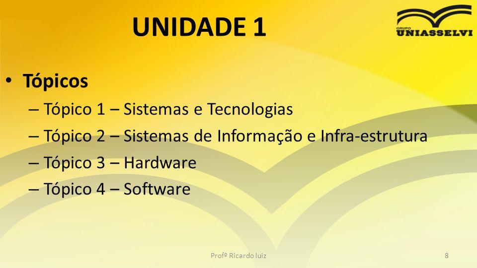 UNIDADE 1 Tópicos – Tópico 1 – Sistemas e Tecnologias – Tópico 2 – Sistemas de Informação e Infra-estrutura – Tópico 3 – Hardware – Tópico 4 – Softwar