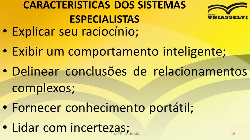 CARACTERISTICAS DOS SISTEMAS ESPECIALISTAS Explicar seu raciocínio; Exibir um comportamento inteligente; Delinear conclusões de relacionamentos comple