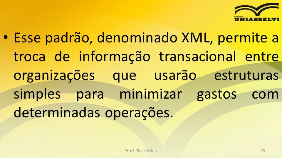 Esse padrão, denominado XML, permite a troca de informação transacional entre organizações que usarão estruturas simples para minimizar gastos com det