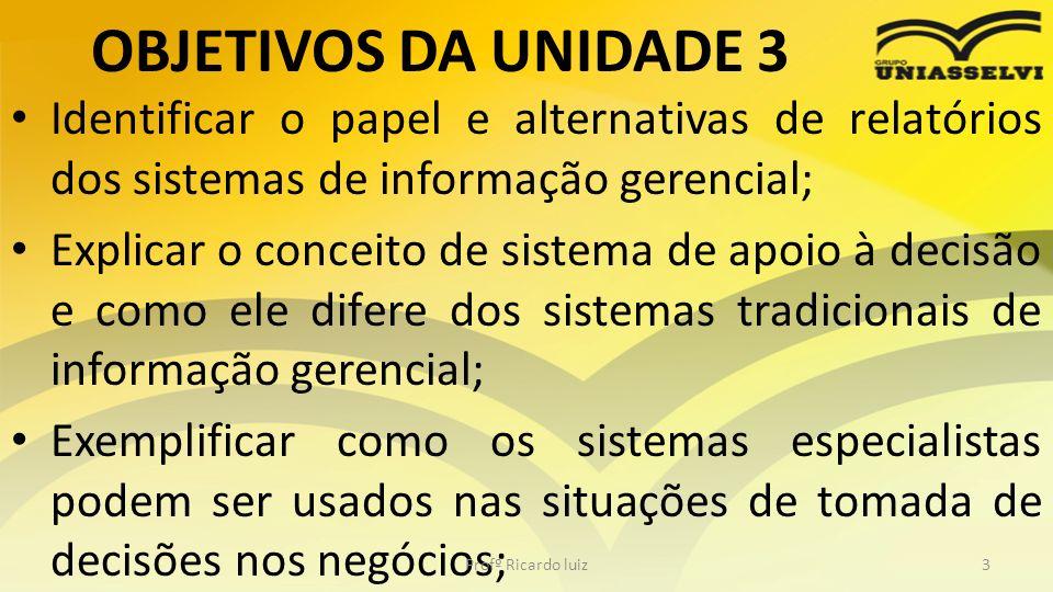 OBJETIVOS DA UNIDADE 3 Identificar o papel e alternativas de relatórios dos sistemas de informação gerencial; Explicar o conceito de sistema de apoio