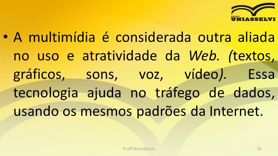 A multimídia é considerada outra aliada no uso e atratividade da Web. (textos, gráficos, sons, voz, vídeo). Essa tecnologia ajuda no tráfego de dados,