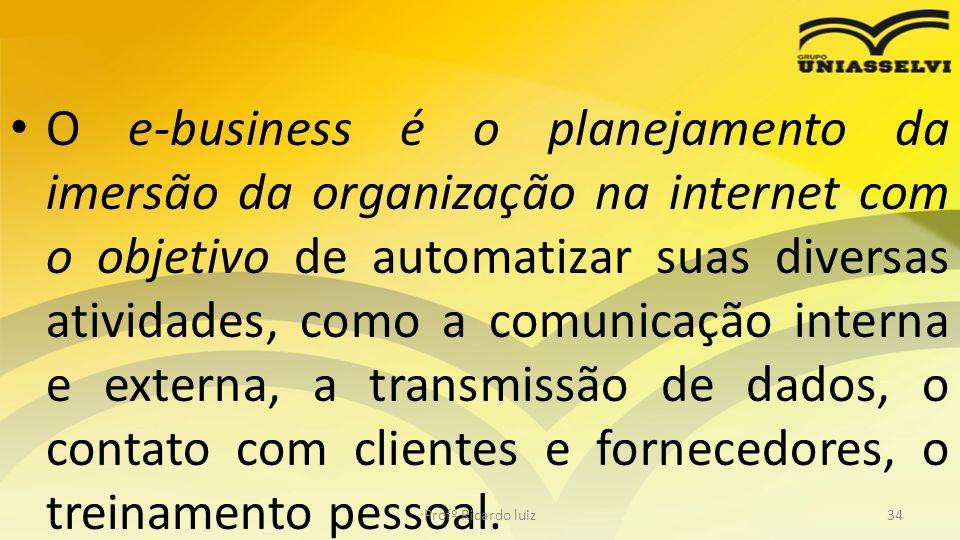 O e-business é o planejamento da imersão da organização na internet com o objetivo de automatizar suas diversas atividades, como a comunicação interna
