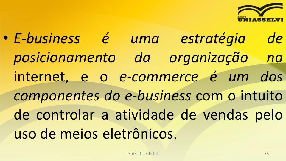E-business é uma estratégia de posicionamento da organização na internet, e o e-commerce é um dos componentes do e-business com o intuito de controlar