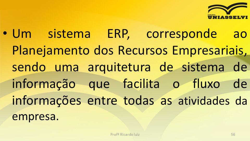 Um sistema ERP, corresponde ao Planejamento dos Recursos Empresariais, sendo uma arquitetura de sistema de informação que facilita o fluxo de informaç