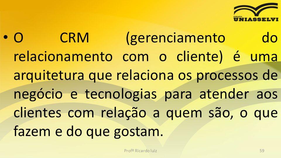 O CRM (gerenciamento do relacionamento com o cliente) é uma arquitetura que relaciona os processos de negócio e tecnologias para atender aos clientes