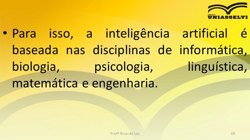 Para isso, a inteligência artificial é baseada nas disciplinas de informática, biologia, psicologia, linguística, matemática e engenharia. Profº Ricar
