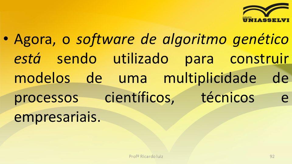 Agora, o software de algoritmo genético está sendo utilizado para construir modelos de uma multiplicidade de processos científicos, técnicos e empresa