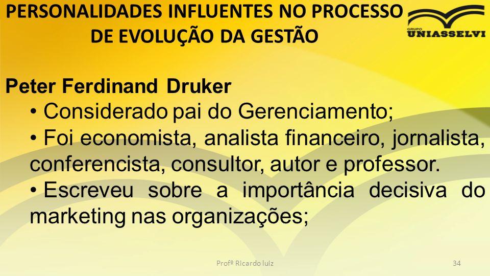 PERSONALIDADES INFLUENTES NO PROCESSO DE EVOLUÇÃO DA GESTÃO Profº Ricardo luiz34 Peter Ferdinand Druker Considerado pai do Gerenciamento; Foi economis