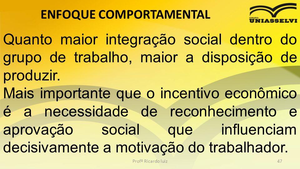 ENFOQUE COMPORTAMENTAL Profº Ricardo luiz47 Quanto maior integração social dentro do grupo de trabalho, maior a disposição de produzir. Mais important