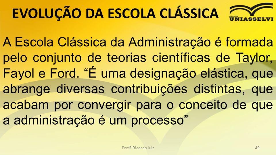 EVOLUÇÃO DA ESCOLA CLÁSSICA Profº Ricardo luiz49 A Escola Clássica da Administração é formada pelo conjunto de teorias científicas de Taylor, Fayol e