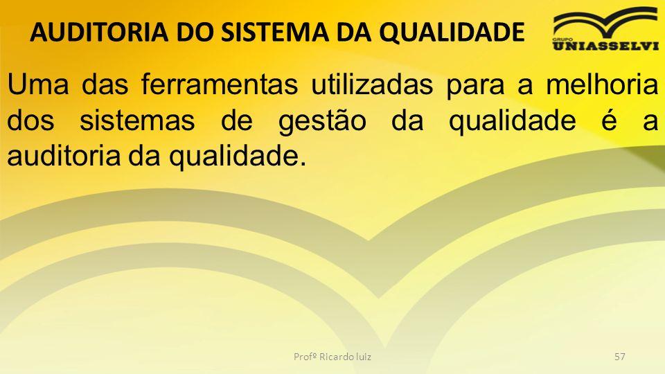 AUDITORIA DO SISTEMA DA QUALIDADE Profº Ricardo luiz57 Uma das ferramentas utilizadas para a melhoria dos sistemas de gestão da qualidade é a auditori