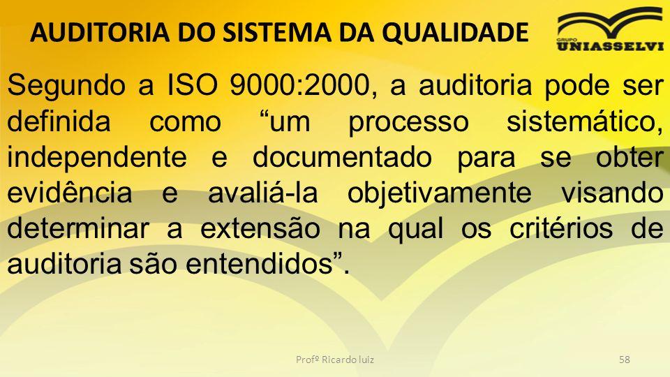 AUDITORIA DO SISTEMA DA QUALIDADE Profº Ricardo luiz58 Segundo a ISO 9000:2000, a auditoria pode ser definida como um processo sistemático, independen