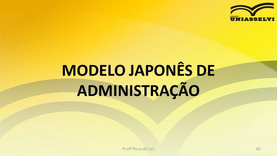 MODELO JAPONÊS DE ADMINISTRAÇÃO Profº Ricardo luiz60