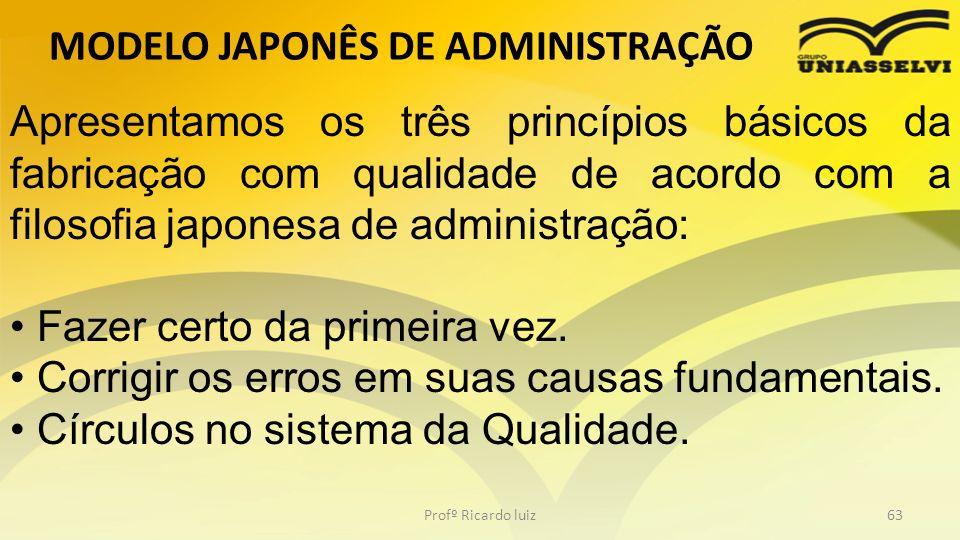 MODELO JAPONÊS DE ADMINISTRAÇÃO Profº Ricardo luiz63 Apresentamos os três princípios básicos da fabricação com qualidade de acordo com a filosofia jap