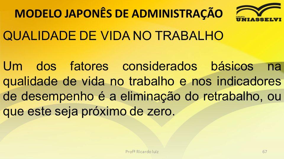MODELO JAPONÊS DE ADMINISTRAÇÃO Profº Ricardo luiz67 QUALIDADE DE VIDA NO TRABALHO Um dos fatores considerados básicos na qualidade de vida no trabalh