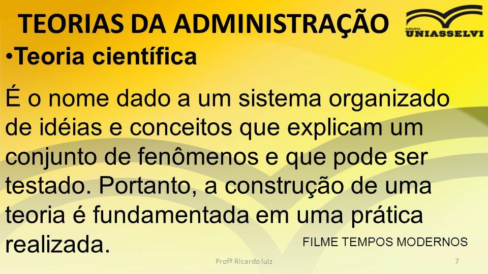 TEORIAS DA ADMINISTRAÇÃO Profº Ricardo luiz7 Teoria científica É o nome dado a um sistema organizado de idéias e conceitos que explicam um conjunto de