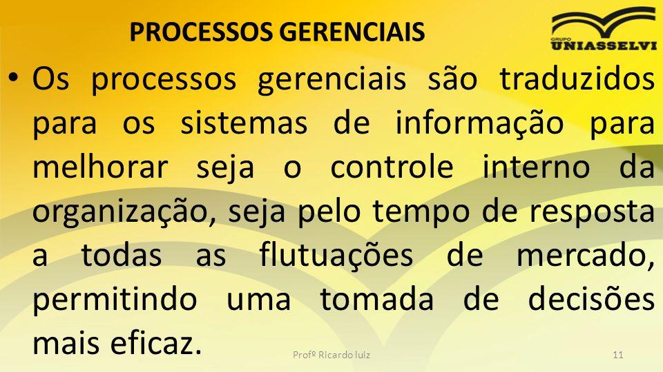 PROCESSOS GERENCIAIS Os processos gerenciais são traduzidos para os sistemas de informação para melhorar seja o controle interno da organização, seja