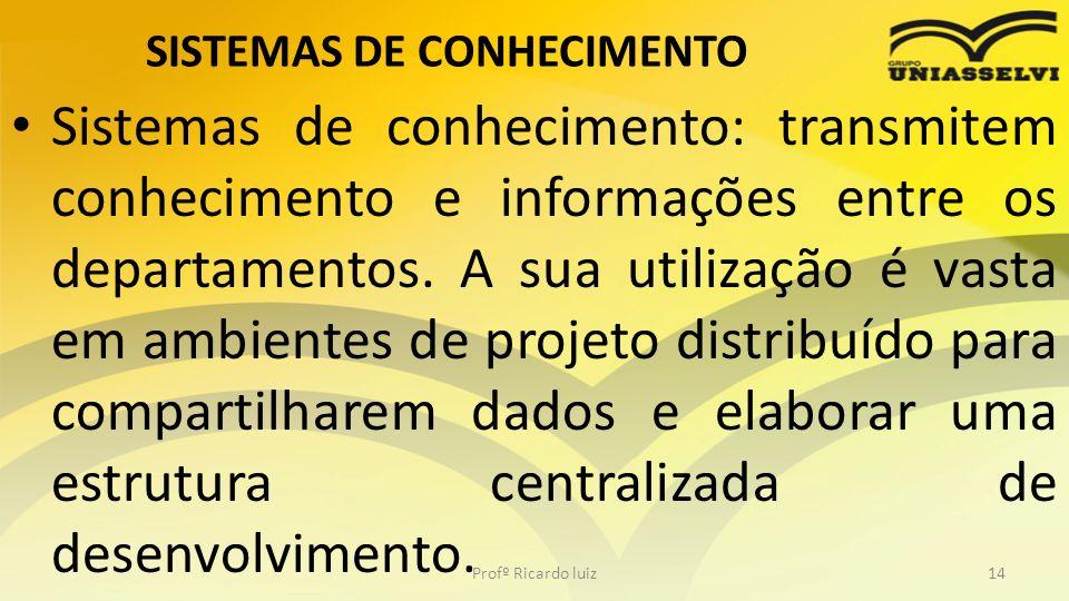 SISTEMAS DE CONHECIMENTO Sistemas de conhecimento: transmitem conhecimento e informações entre os departamentos. A sua utilização é vasta em ambientes