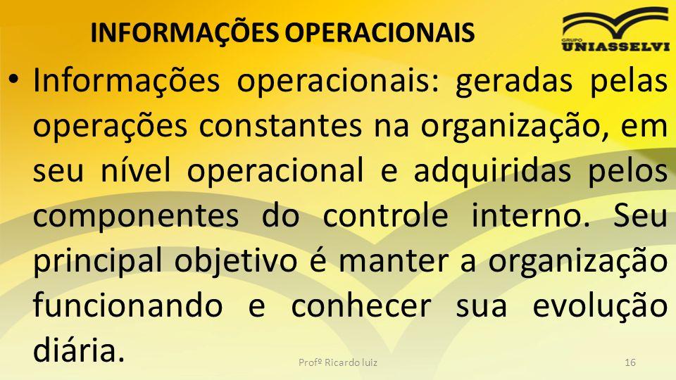INFORMAÇÕES OPERACIONAIS Informações operacionais: geradas pelas operações constantes na organização, em seu nível operacional e adquiridas pelos comp