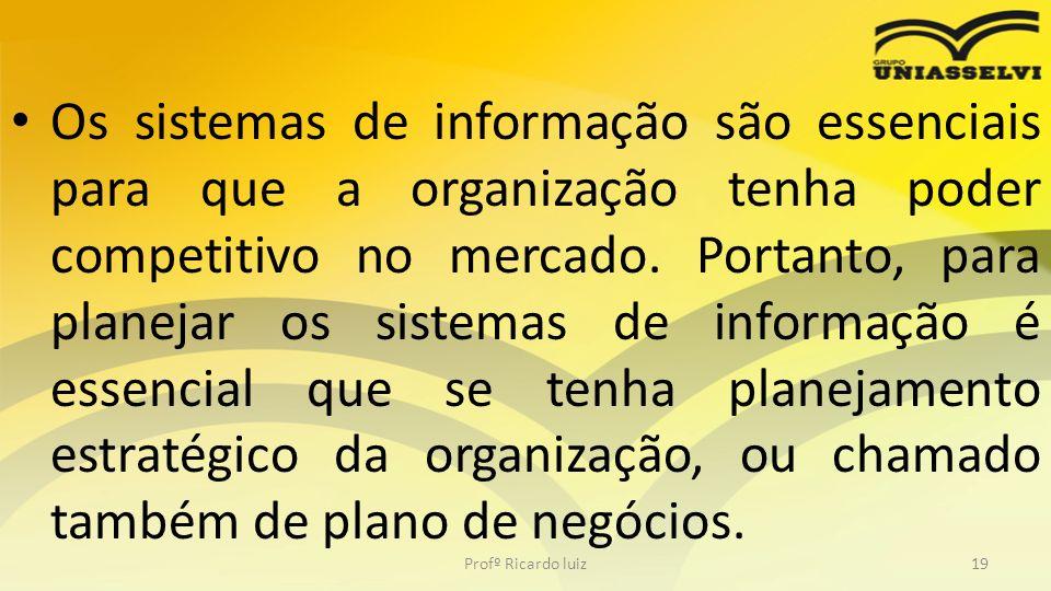 Os sistemas de informação são essenciais para que a organização tenha poder competitivo no mercado. Portanto, para planejar os sistemas de informação
