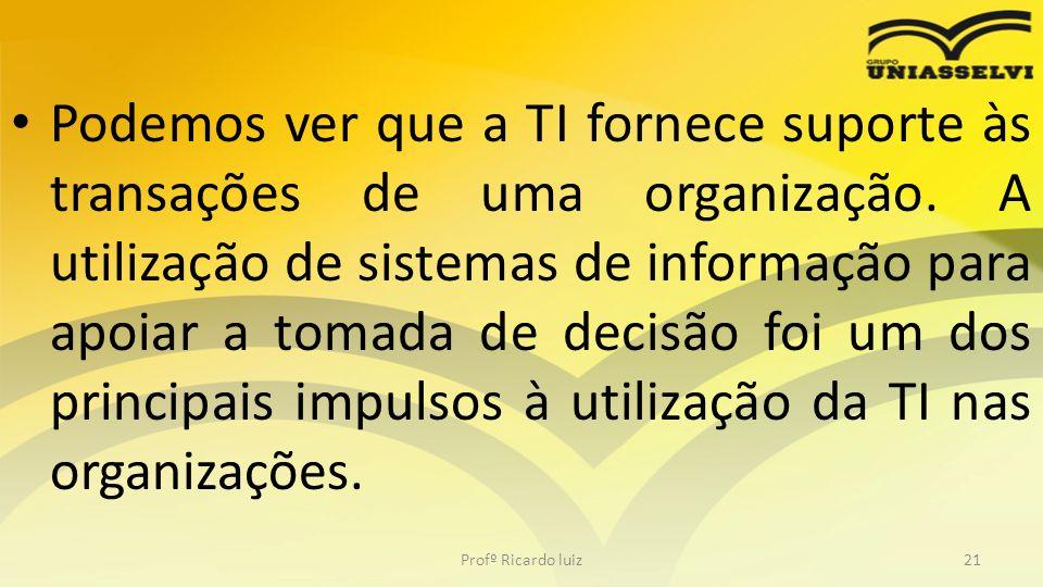 Podemos ver que a TI fornece suporte às transações de uma organização. A utilização de sistemas de informação para apoiar a tomada de decisão foi um d