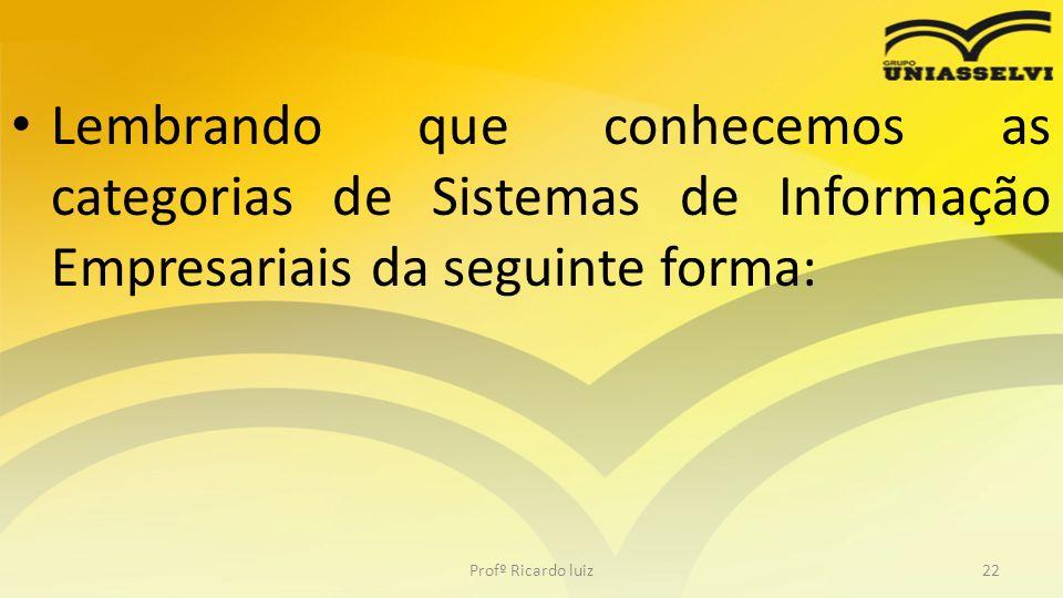 Lembrando que conhecemos as categorias de Sistemas de Informação Empresariais da seguinte forma: Profº Ricardo luiz22