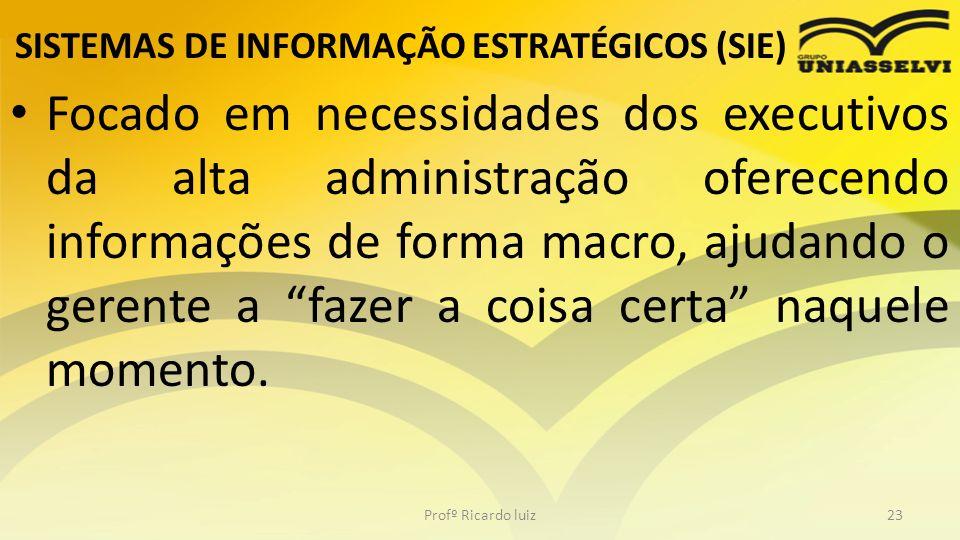 SISTEMAS DE INFORMAÇÃO ESTRATÉGICOS (SIE) Focado em necessidades dos executivos da alta administração oferecendo informações de forma macro, ajudando