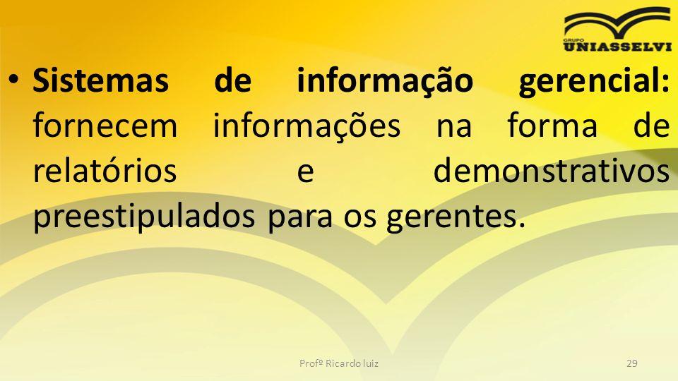 Sistemas de informação gerencial: fornecem informações na forma de relatórios e demonstrativos preestipulados para os gerentes. Profº Ricardo luiz29