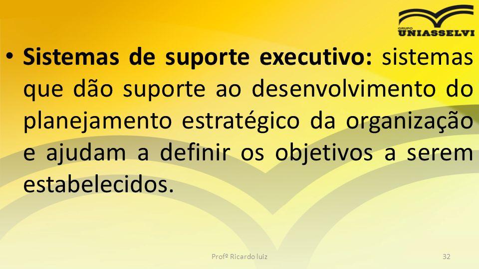 Sistemas de suporte executivo: sistemas que dão suporte ao desenvolvimento do planejamento estratégico da organização e ajudam a definir os objetivos