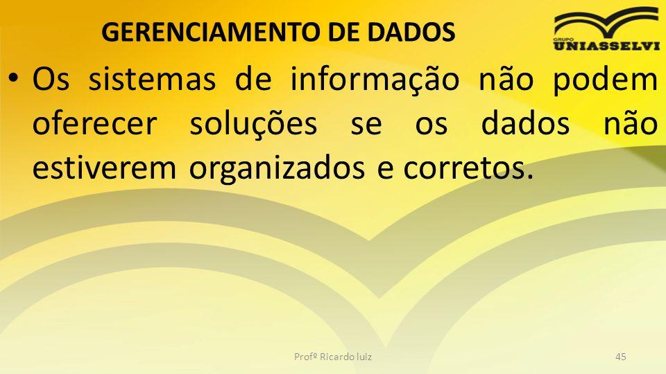 GERENCIAMENTO DE DADOS Os sistemas de informação não podem oferecer soluções se os dados não estiverem organizados e corretos. Profº Ricardo luiz45
