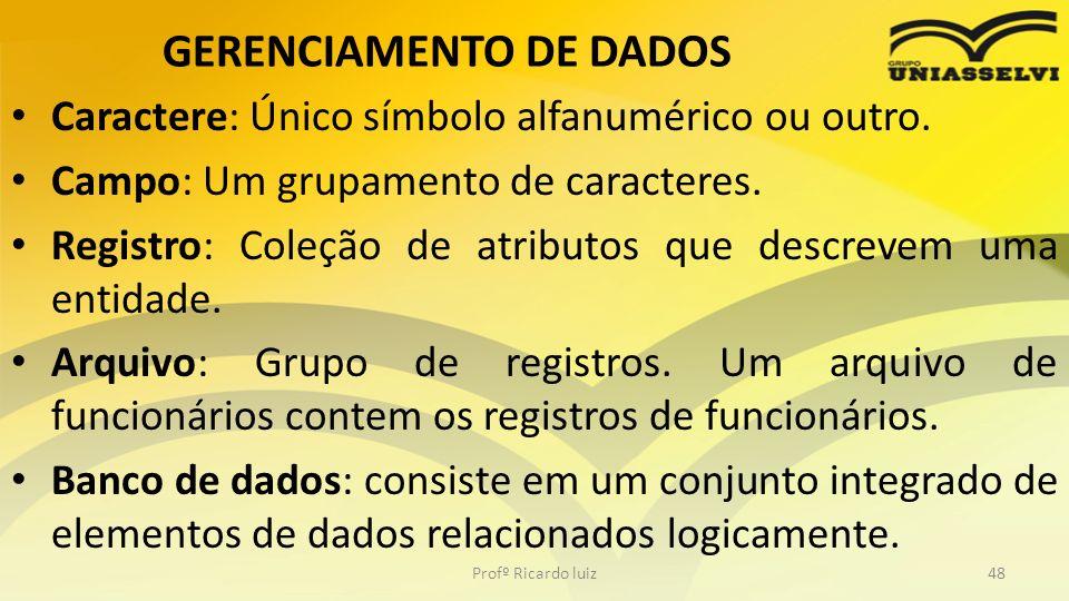 GERENCIAMENTO DE DADOS Caractere: Único símbolo alfanumérico ou outro. Campo: Um grupamento de caracteres. Registro: Coleção de atributos que descreve