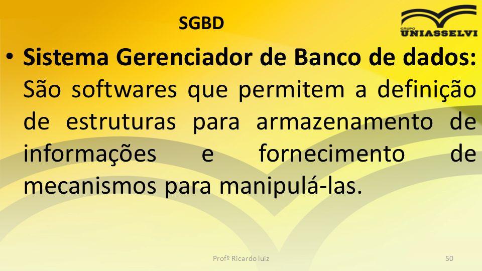 SGBD Sistema Gerenciador de Banco de dados: São softwares que permitem a definição de estruturas para armazenamento de informações e fornecimento de m