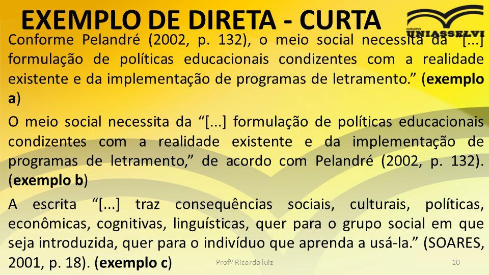 EXEMPLO DE DIRETA - CURTA Conforme Pelandré (2002, p. 132), o meio social necessita da [...] formulação de políticas educacionais condizentes com a re
