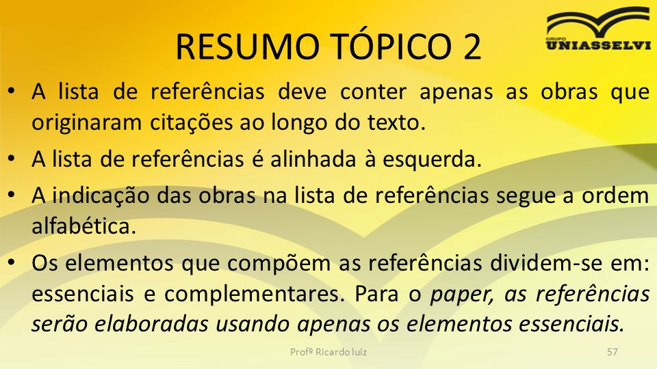 RESUMO TÓPICO 2 A lista de referências deve conter apenas as obras que originaram citações ao longo do texto. A lista de referências é alinhada à esqu