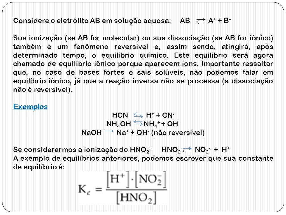 Considere o eletrólito AB em solução aquosa: AB A + + B – Sua ionização (se AB for molecular) ou sua dissociação (se AB for iônico) também é um fenôme