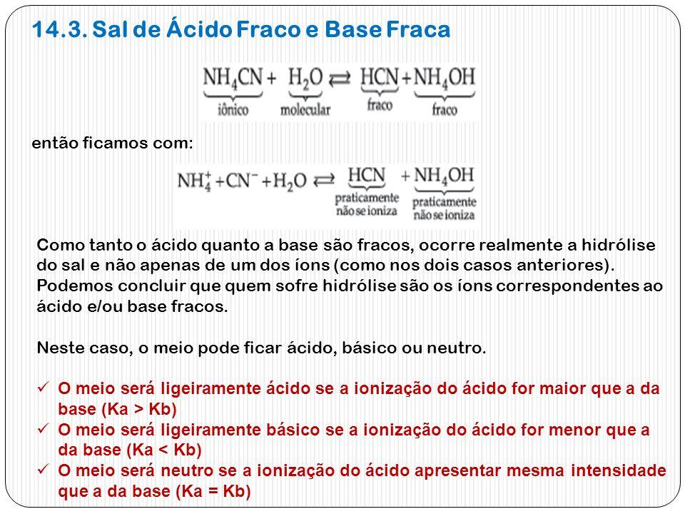 14.3. Sal de Ácido Fraco e Base Fraca então ficamos com: Como tanto o ácido quanto a base são fracos, ocorre realmente a hidrólise do sal e não apenas